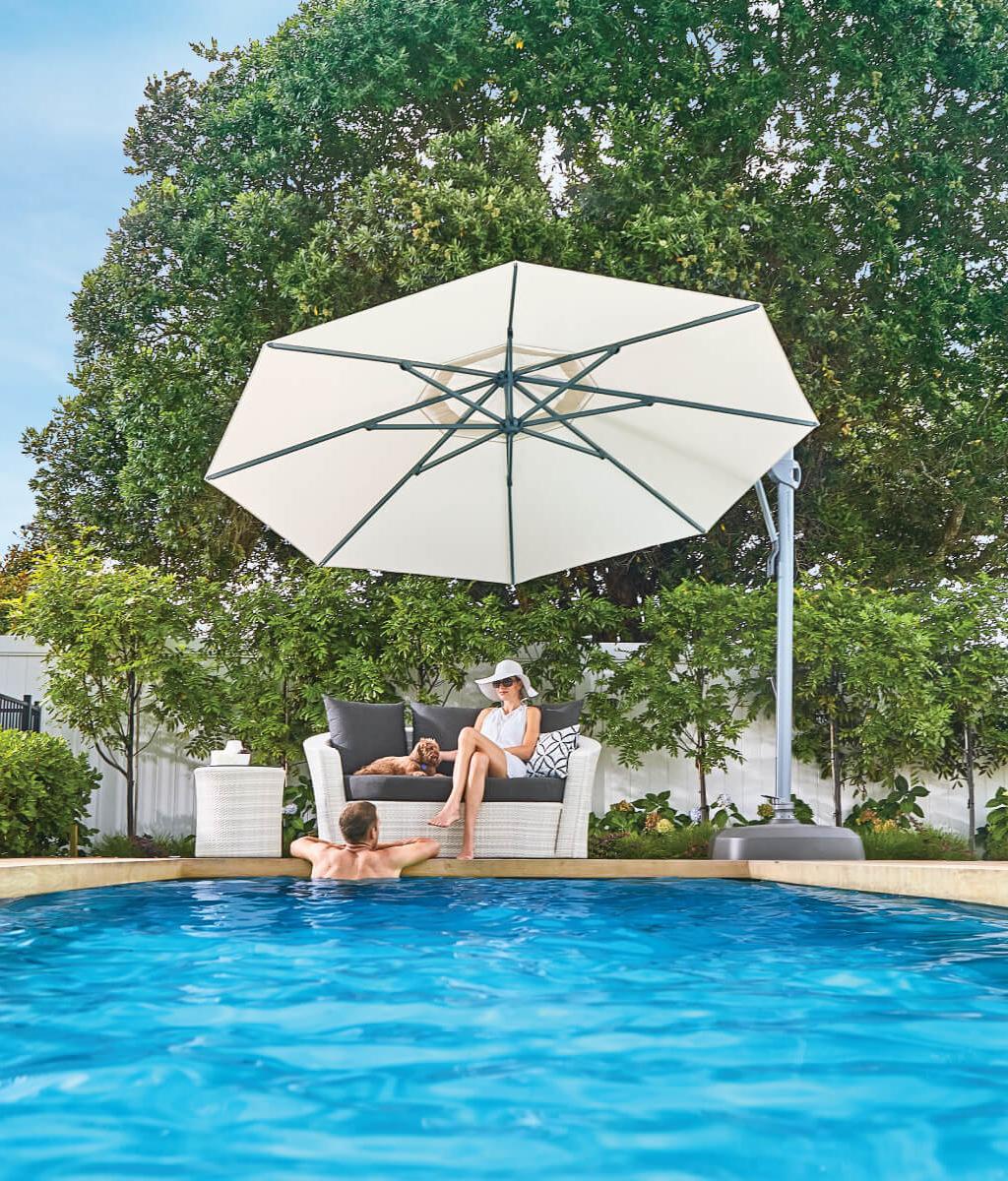 White Cantilever Umbrella for Auckland Pool