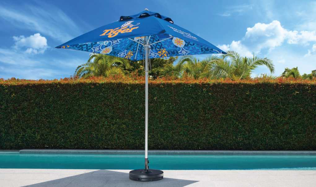 Fibreglass Branded Outdoor Umbrella 1.9m Square