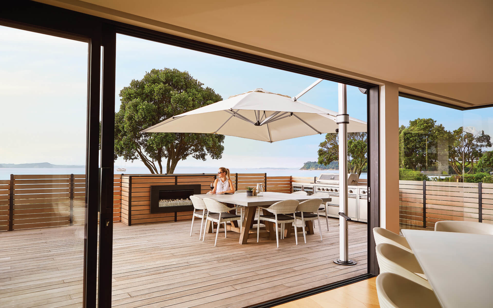 Riviera Cantilever Shade Umbrella for NZ Wooden Deck
