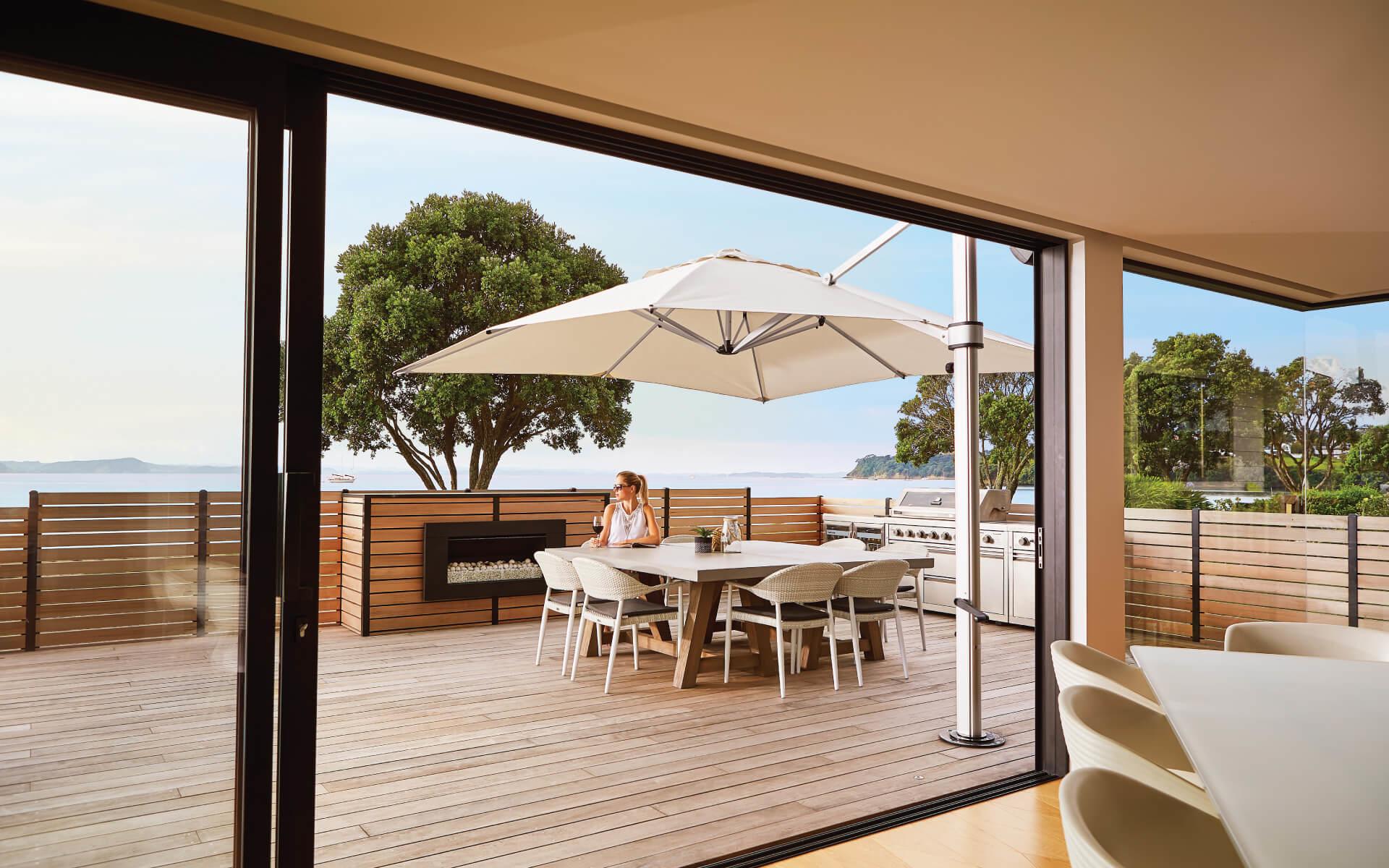 Riviera Cantilever Shade Umbrella for NZ Wooden Deck