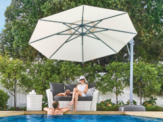 White Cantilever Umbrella for Auckland Pool