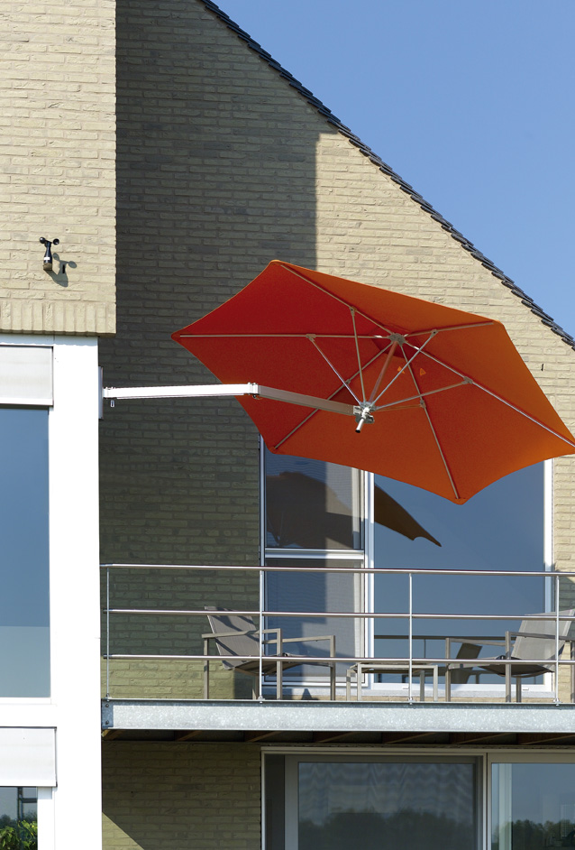 Paraflex Wall Mounted Umbrella On Balcony